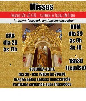 Horários de transmissões de Missas neste fim de semana